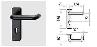 maner M1 accesorii pereche de manere cu miez metalic si silduri din nylon negru prevazute cu gaura de cilindru ajustabila pentru cilindrii profil Euro, drucker de 9 x 9 de 125 mm