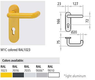 """Maner M1C Pachetul manerelor M1C si M2C consta in: o pereche de manere tip """"U"""" (M1C) sau combinatia maner tip """"U"""" / maner tip buton (M2C) confectionate din polipropilena (PP) cu miez metalic si sild din otel galvanizat, o pereche de silduri din polipropilena (PP) prevazute cu gaura pentru cilindru profil Euro, un drucker patrat de 125 mm lungime cu laturi de 9 x 9, suruburi de montaj rapid si distantiere."""