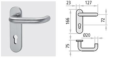 maner din inox M1X si M2X sunt echipate cu un resort ce mentine alinierea cu geometria usii. Acestea sunt montate pe un mecanism din otel galvanizat si se livreaza cu un drucker de 9 x 9 de 125 mm lungime, cu suruburi de montaj rapid si distantiere.