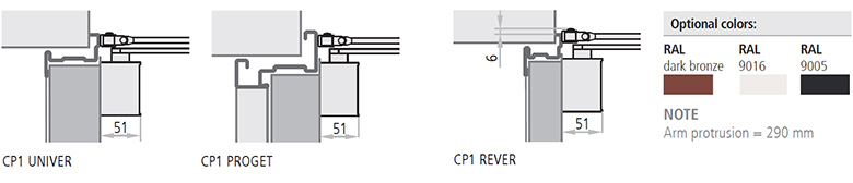 Amortizorul CP1 poate fi folosit la usile antifoc si trecut in categoria deschiderilor de 180°, cu o forta de inchidere variind de la 3 la 4. Usile Proget comandate cu amortizor CP1 sunt furnizate prevazute cu gauri de instalare pe canat si pe toc. Usiles tandard Rever, Univer si Proget sunt ranforsate intern pentru aplicarea amortizorului CP1.