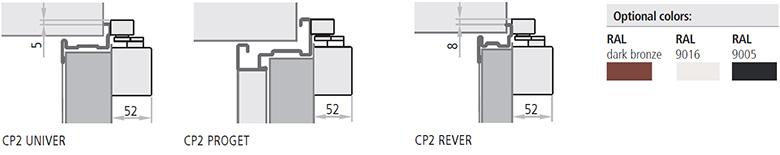 Amortizorul CP2 este util la usile antifoc si clasificat cu unghi de deschidere de 180° cu forta de inchidere de nivel 4. Usile Proget comandate cu amortizorul CP2 sunt prevazute cu gauri de instalare pe canat si in toc. Usile standard Rever, Univer si Proget includ ranforsari intern pentru aplicatiile CP2.
