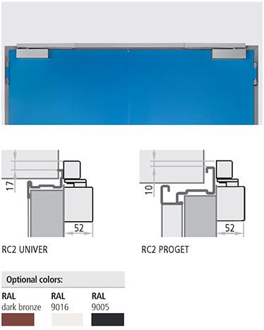 Regulatorul RC2 este implementat in amortizor si consta in 2 modele CP2 cu forta EN 4 cu sina de ghidaj si regulator integrat in sina superioara. Sistemul are integral culoarea argintie. Latimea minima a golului de trecere este de 1200 mm si minimul pentru canatul secundar de 370 mm. Usile Proget comandate cu sistem RC2 sunt prevazute cu gauri de instalare pentru 2 amortizoare CP2 pe canaturi si pe canelul de glisare in toc. Gaurile de instalare din usile Univer vor fi facute la locul de montaj pentru ancorare in ranforsarea interna a canatelor.
