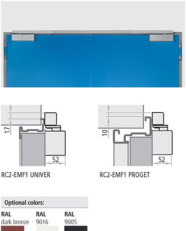 Sistem RC2–EMF1 Sistemul RC2–EMF1 difera de RC2 prin dispozitivul de prindere electro-mecanic ce permite blocarea canatului la unghiuri de la 80° la 130°. Canatul activ este mentinut deschis cu ajutorul regulatorului de inchidere. La declansarea alarmelor sau in timpul penelor de curent sistemul de prindere este deblocat si usa este inchisa de amortizor. Intreg sistemul este de culoare argintiu.  magneti ascunsi fara proeminenta bratului de amortizor regulator mascat in sina de ghidaj superioara (chiar si in pozitie deschis) inchidere controlata a ambelor canate. Sistemul RC2-EMF1 este utilizabil la usile antifoc si este clasificat cu forta de nivel EN4. Latimea minima a golului de trecere este de 1200 iar pentru canatul secundar este de 370 mm Usile Proget livrate cu RC2-EMF1 sunt prevazute cu gauri de instalare in canat si in toc. Usile Univer includ si ranforsari interne pentru aplicarea amortizoarelor pentru 2 canate.