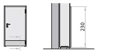 Placaj inferior foi din otel inoxidabil AISI 304 cu inaltime standard de 230 mm. Pentru aplicarea adezivului in spatele usii, in partea de jos sau la nivelul manerului.