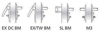 Sistemul MAC 1 poate fi folosit in combinatie cu orice tip de bara antipanica BM si manere de urgenta M3