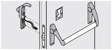 Bare antipanica Sensul de deschidere controlat este din partea de tragere a usii (partea manerului electric). Folosind cheia pentru incuiere blocheaza functionarea manerului electric, in timp ce deschiderea usii este posibil actionand bara antipanica de pe parte de impingere. Intrebuintare: pentru iesiri antipanica pe usi cu una sau doua canate cand controlul accesului este stabilit pe partea de tragere a usii.