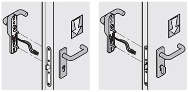 Manere de urgenta M3 Intrebuintare: pentru usile cu una sau doua canate, pentru iesiri de urgenta cand controlul accesului este stabilit pe partea de tragere a usii. Sensul de deschidere controlat este pe partea de tragere a usii (partea cu manerul electric). Incuierea cu cheie blocheaza functionarea manerului electric, in timp deschiderea se poate face cu manerul de urgenta M3. Manere de urgenta HOT/CIL Intrebuintare: pentru usile de camera de hotel Sensul de deschidere controlat este de pe partea de impingere a usii (pe partea cu manerul electric). Inchiderea se face cu cilindru cu buton, deschiderea cu maner electric este posibila doar electric. Deschiderea usii se face doar de pe partea cu camera.