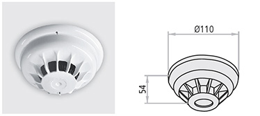 Detector de fum si caldura RFC cu carcasa ABS alba. Senzor optic/termin setat intre 54 si 65°C. Pentru a asigura buna functionare, detectorii trebuie inspectati la fiecare 6 luni. Nu este deloc indicat sa pozitionati detectorii in zone cu curenti de aer puternici.