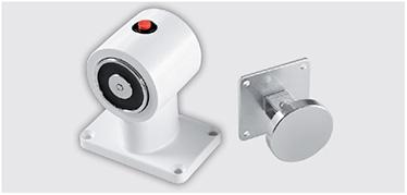 Electromagnet de podea EMP constand intr-un miez metalic cu buton de deblocare si placa de insurubare. Ancora consta intr-o placa nichelata si o platforma cu articulatii