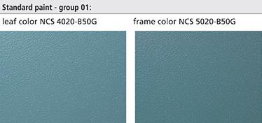 Vopselele pentru aplicare in camp electrostatic, de interior, (grupa 01) turcoaz – nuanta deschisa pentru canat (NCS4020-B50G) si nuanta inchisa pentru toc (NCS5020-B50G). Tonurile pentru toc si canat sunt prezentate in imaginea din dreapta.