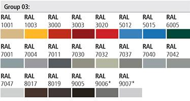 Vopselele de interior (grupele 02 si 03) sunt disponibile in toata gama de culori RAL, pentru aplicare in camp electrostatic. Usile trebuie protejate de agentii atmosferici. Lumina solara scade din tonul culorilor.