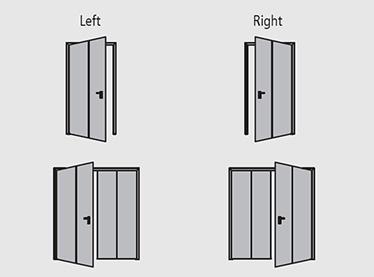 directie de deschidere poarta antifoc cu balamale cu 1 sau 2 canate REI 120