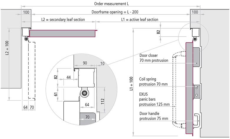 elemente poarta cu balamale 2 canate REI 120 deschidere 90°