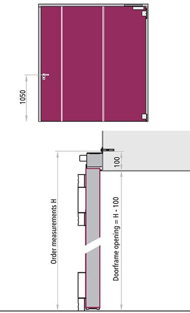 varianta REI 120 cu 1 canat poarta antifoc balama confectionat din profile metalice galvanizate in forma de L Cu o forma speciala, confectionat din otel inoxidabil cu maneta dubla cu resort si set de silduri. Greutatea manerului = 1050 mm