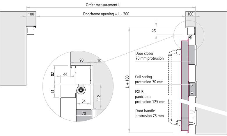 dimensiuni de instalare poarta antifoc cu balama deschidere 90°