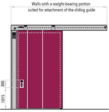 poarta antifoc culisanta orizontal varianta cu un canat REI 120 pe pereti portanti