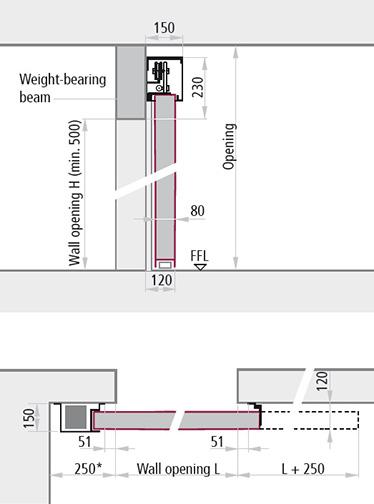 dimensiuni instalare montare pe pereti portanti varianta cu un canat REI 120 gol de trecere