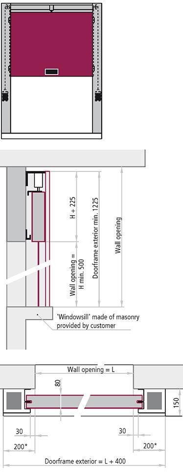 versiunea REI 120 poarta antifoc culisanta vertical un canat module de paneluri metalice izolate goale pe interior grosime canat 80 mm Glisare pe sine laterale si placute antideraiere rezistente la foc confectionate din tabla ambutisata insertie pe ambele parti dimensiuni gol de trecere Poarta este mentinuta deschisa datorita unei sigurante termice situata in partea de sus pe distantierul de labirint