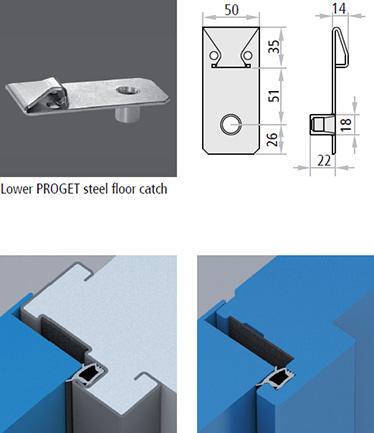 piesa de inchidere; Proget; sistem de prindere; otel galvanizat; pardoseala; garnituri de etansare; cadru perimetral