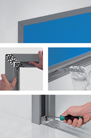 foaie de usa; toc de usa antifoc Proget cu sectiune de imbinare ajustabila; brate de asamblare; distantier jos; sablon de montaj; fixat in pardoseala fara prag;