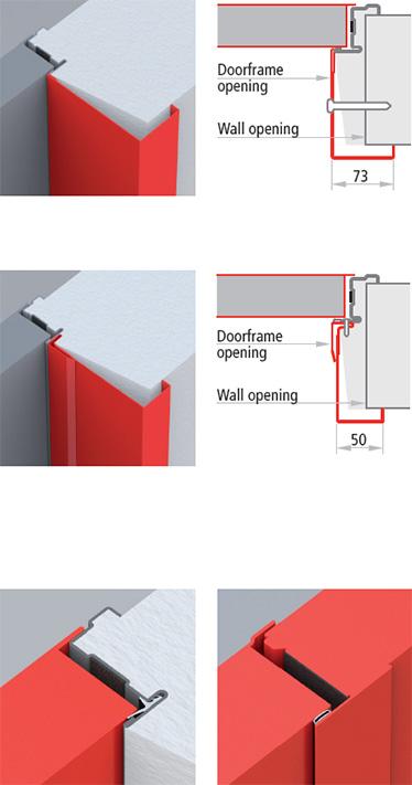 montare extensii de toc in completarea tocului usii Univer pentru imbracarea peretelui; etansizare cu garnituri FF/CR si FF
