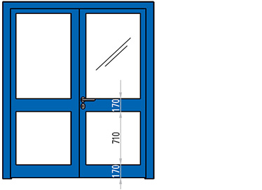 USA ANTIFOC REI 60 CU 2 CANATE vitrate din aluminiu