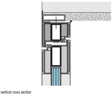 instalare pe pervazul intern sectiune de imbinare verticala USI vitrate antifoc ALUMINIU REI 60