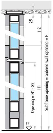 dimensiuni REI 90 si REI 120 cu elemente fixe usa vitrata antifoc din aluminiu