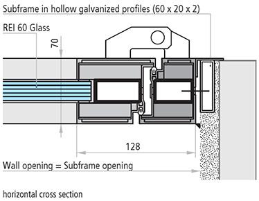 USI antifoc vitrate DIN ALUMINIU REI  60 sectiune de imbinare orizontala subtoc in profile galvanizate
