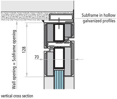 USI antifoc vitrate DIN ALUMINIU REI 60 sectiune de imbinare verticala subtoc in profile galvanizate