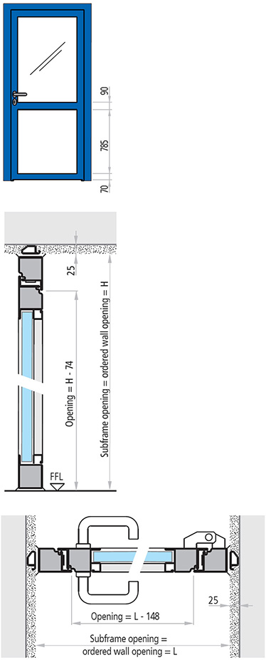 dimensiuni usa antifoc vitrata din otel cu 1 canat REI 30 si REI 60