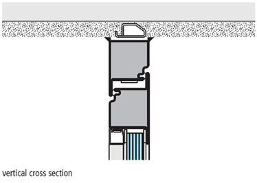 montaj pe tocul bloc sectiune de imbinare verticala usa antifoc vitrata din otel