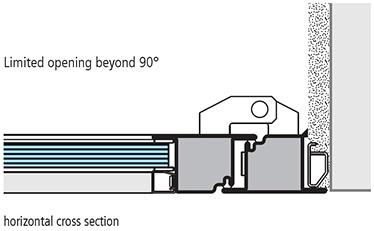 sectiune de imbinare verticala montaj pe pervazul intern usi antifoc vitrate din otel