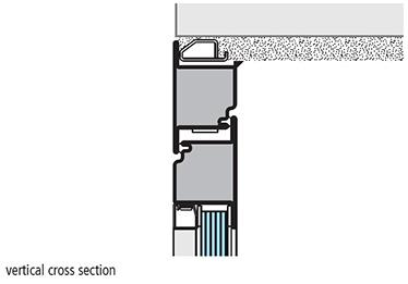 sectiune de imbinare orizontala montaj pe pervazul intern usi antifoc vitrate din otel