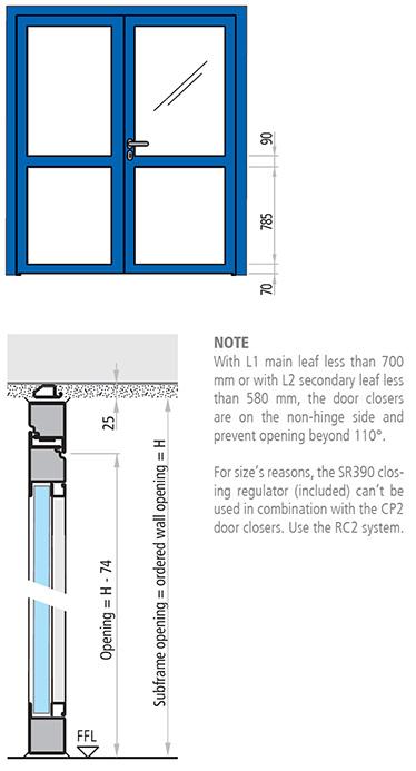dimensiuni usa antifoc cu 2 canate REI 30 si REI 60 vitrata din otel