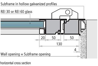 profile galvanizate montaj pe pervaz extern sectiune de imbinare orizontala usi antifoc vitrate din otel REI 30 REI 60