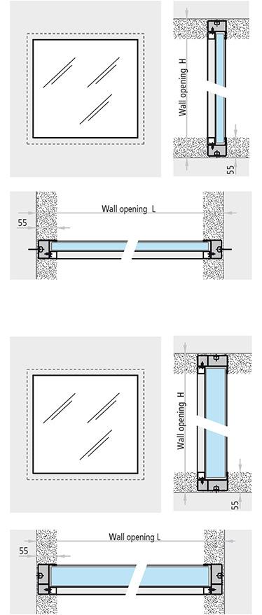 fereastra REI 60 REI 120 incastrata in perete toc confectionat din profile din otel de 50 x 30 mm cu garnituri de etansare de 10 x 3 mm