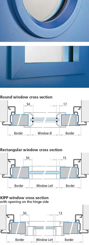 ferestre multifunctionale cu cadru metalic Proget; sectiune de imbinare la hublou si la fereastra dreptunghiulara