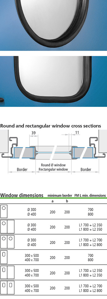 ferestre multifunctionale cu cadru din cauciuc pentru usile Proget; sectiuni de imbinare la ferestrele drepunghiulare si rotunde; dimensiuni ferestre; ferestre rotunde sau dreptunghiulare, cu sticla laminata de 3 + 3 mm, profilata cu cauciuc negru. Colturile ferestrelor dreptunghiulare sunt rotunjite (raza de aprox. 100 mm).
