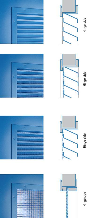 pozitie grilaj pe partea cu balamaua; grilaje din foaie de otel cu inclinare jos, in sensul de deschidere a usii; sistem anti-rozatoare (16 x 16 x 3 mm) / (11 x 11 x 1 mm) si previne accesul insectelor. (5 x 5 x 0,5 mm). Distanta standard este de 200 mm de la finisajul podelei.