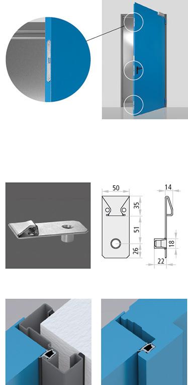 usile multifunctionale Proget cu unul si doua canaturi pot fi livrate cu incuietoare laterala in 3 puncte; inchidere in 3 puncte cu sistem de prindere in paviment  pentru usile Proget cu 2 canaturi, confectionate din otel galvanizat perforat. Includ prag de piedica pentru canatul pasiv, orificiu de inchidere pentru insertia tijei, 3 suruburi si 3 dibluri; Garnitura de etansare FF din profil negru extrudat ce se va presa in canelurile cadrului perimentral si in punctul de legatura central al usilor cu doua canate