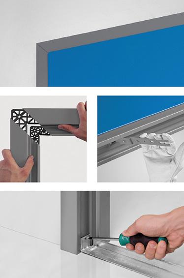 elemente standard Proget; foaie de usa; bratara de asamblare; Profil robust cu sectiune de imbinare la colturi ajustabila; Goluri pentru garnitura termoexpandabila si garnituri de etanseizare; Toc livrat neasamblat