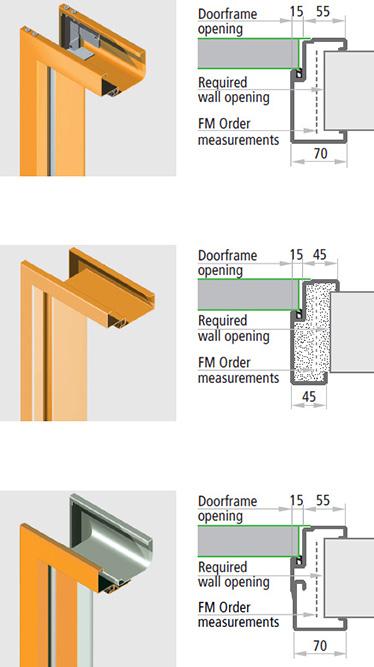 Tocul SPEED, Tocul SOLID, Tocul TESCOP din legaturi ce formeaza unghi de 45 din legaturi care acopera tocul usii in 3 parti, confectionat din foi metalice cu grosime de 1,25 mm, grosimea minima a zidului este de 50 mm iar tocurile sunt de 45/45