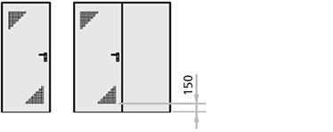 Perforatii de ventilare pentru usile metalice multifunctionale Rever cu una respectiv doua canate si pentru canatul activ al usilor cu 2 canaturi, executate prin perforarea sablonului ilustrat pe foaia de metal, pasajul de aerisire fiind de aproximativ 200 cm2 per canat.
