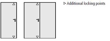 incuietoare triplu securizata blocheaza foaia de usa in toc in trei puncte: in centru cu zavor, in partea de sus se introduce o tija in locasul de limba si in partea de jos a usii tot cu insertie in locasul de inchidere inferior.