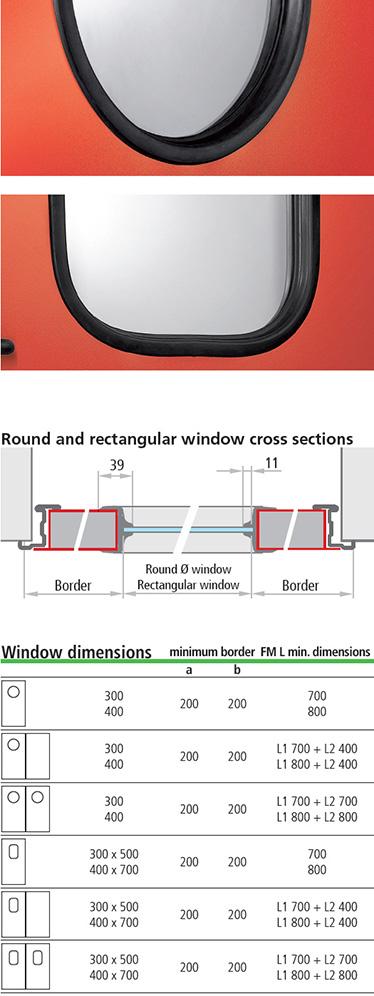 ferestre multifunctionale Univer cu garnituri de cauciuc; ferestre rotunde sau dreptunghiulare, cu sticla laminata de 3 + 3 mm, profilata cu cauciuc negru. Colturile ferestrelor dreptunghiulare sunt rotunjite (raza de aprox. 100 mm).