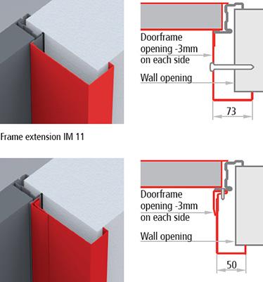 extensii de toc usa multifunctionala Univer; Profilate in trei parti, colturile superioare formeaza unghi de 45 de grade, fixarea facandu-se cu suruburi si dibluri; IM 11: pentru usi cu grosime de 50mm, pentru montaj in perete de 70 mm grosime; IM 13: pentru usi cu grosime de 50 mm, pentru montaj in perete gros de 125 mm
