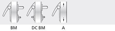 variatii optionale Microswitch si cablu de semnalizare a deschiderii usii Versiunile LP si LA pot avea bara orizontala cu nuante din gama RAL Modelul LP poate avea maner din inox