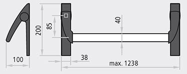 dimensiuni TWIST® Dispozitiv antipanica, cu o nota clasica dar dintr-o gama moderna, disponibil si in combinatia standard de brate/capace nylon cu bara aluminiu anodizata; Certificat pentru incuietori cu gaura de cilindru de 65 mm pentru usile cu un canat sau canatul activ si de 80 mm pentru canatele pasive; Deschidere reversibila stanga – dreapta; Protuberanta de 100 mm;