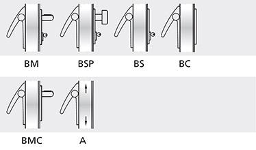Variatii optionale  Bara din aluminiu vopsita in culori RAL Controale externe BM si BSP sunt din inox lucios Controale externe BM si BSP vopsite in culori din paletarul RAL Mecanis antipanica MAC® 1 cu control de acces Cilindri codati sau sistem de chei master Microswitch si cablu de semnalizare deschidere usa